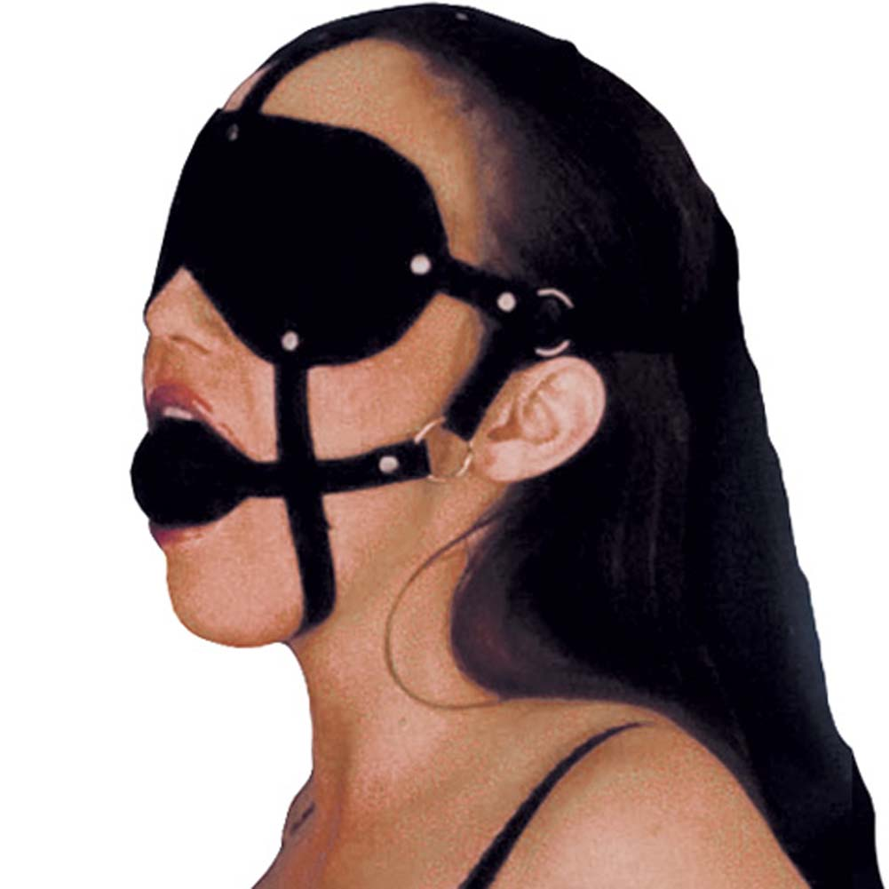 California Exotics Lovers Headgear Adjustable Eye Mask and Ball Gag Black - View #2