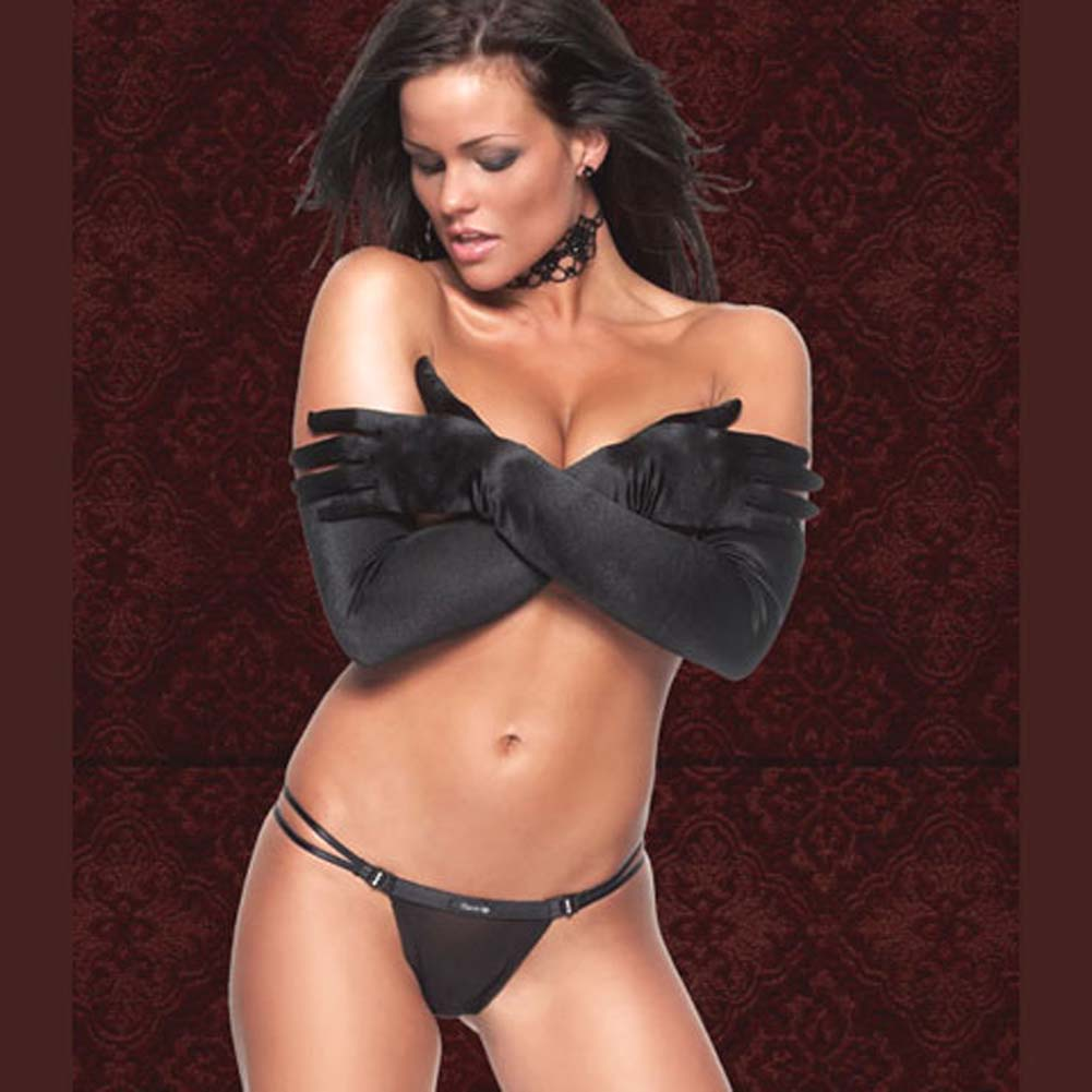 Mesh Thong with Front Rhinestone Clasp Closures Black Large - View #2