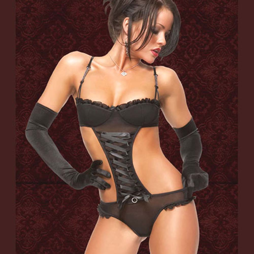 Mesh Teddy with Rhinestone Adjustable Straps Black Medium - View #1