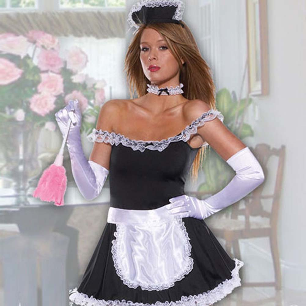 Frisky French Maid Set 6 Pc Dress Apron Collar and Gloves - View #2