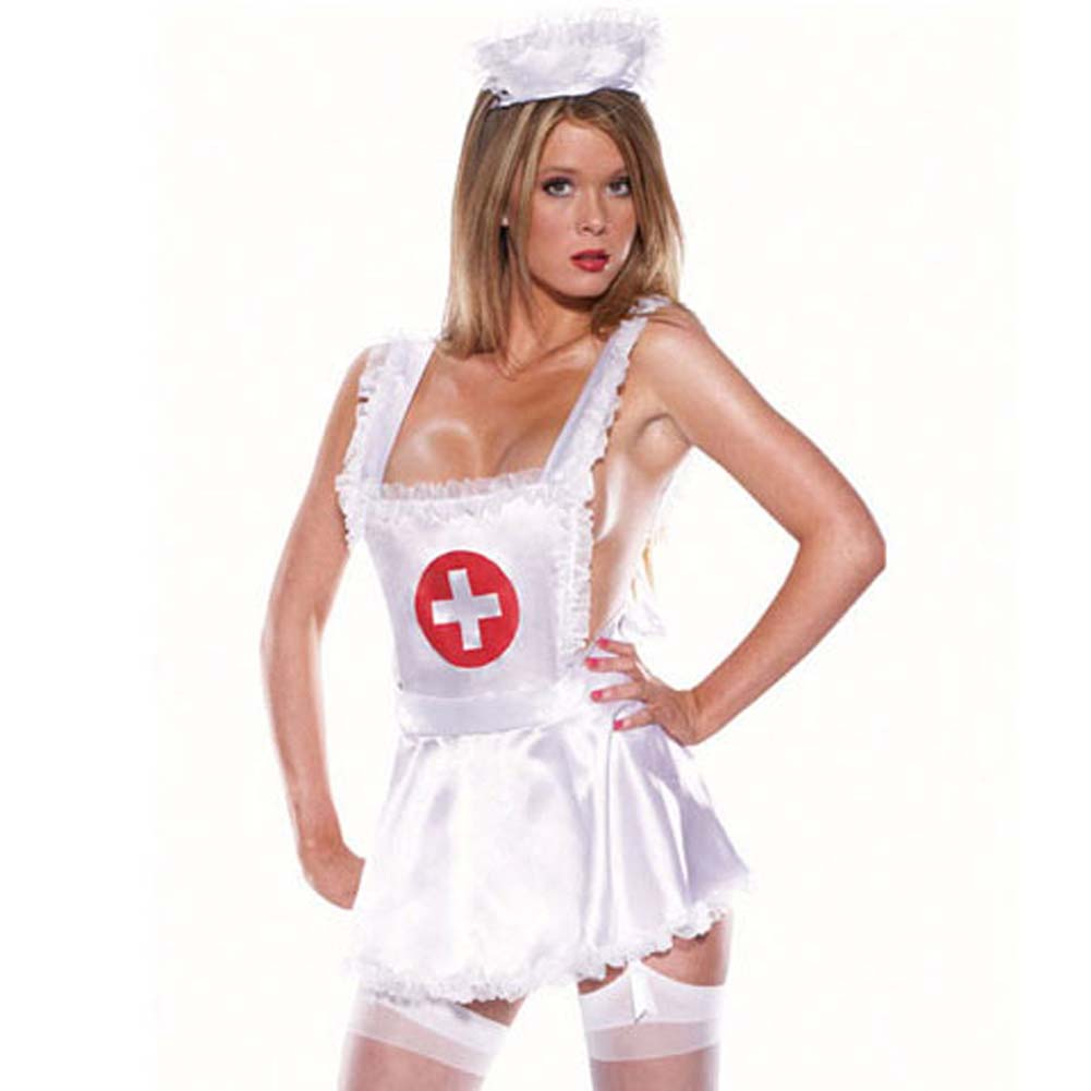 Nurse Set 4 Pc Satin Apron Headpiece Lycra Thong Stockings - View #2
