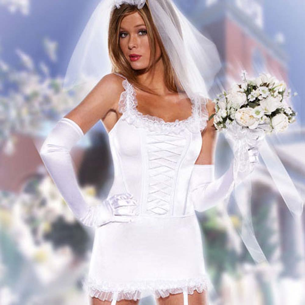 Blushing Bride 6 Pc Corset Skirt Stockings Gloves and Veil - View #1