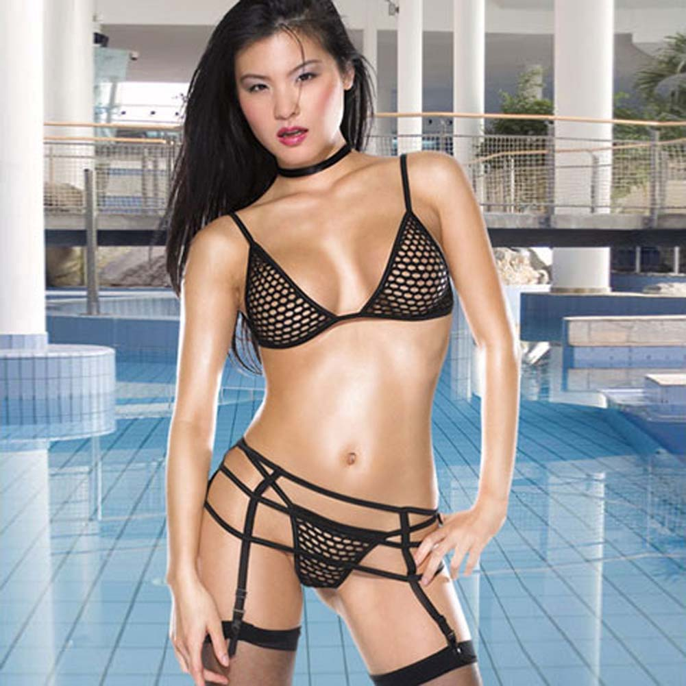 Large Fishnet Set 3 Pc Bikini Top Thong and Garter Belt - View #2