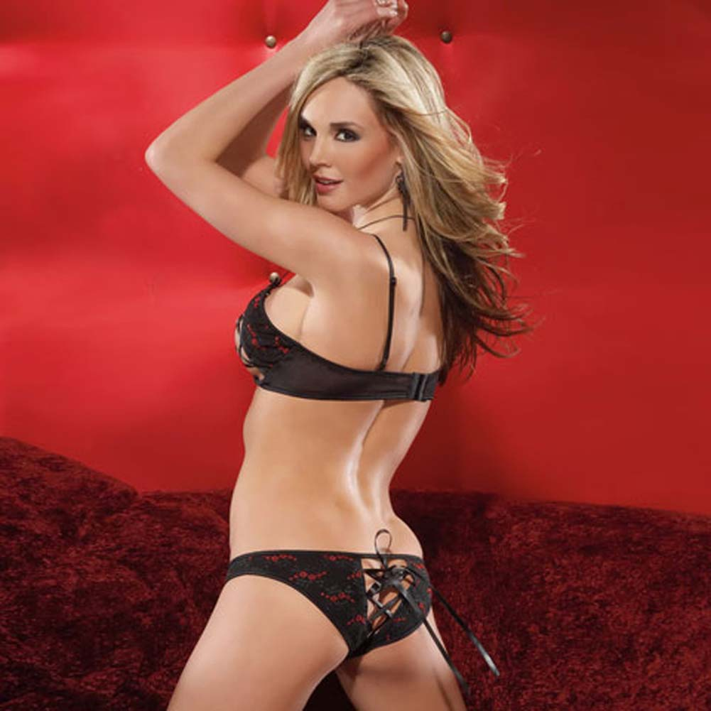 Embroidered Mesh Peek A Boo Bra and Panty Small Black/Red - View #2