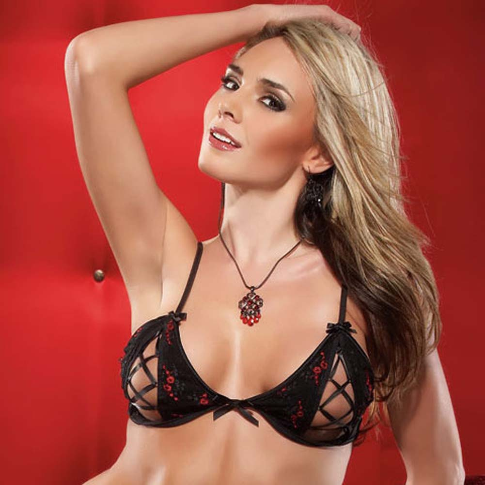 Embroidered Mesh Peek A Boo Bra and Panty Small Black/Red - View #4
