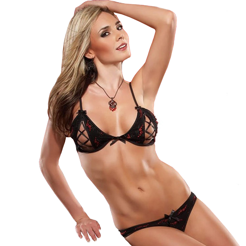 Embroidered Mesh Peek A Boo Bra and Panty Set Large Black/Red - View #1