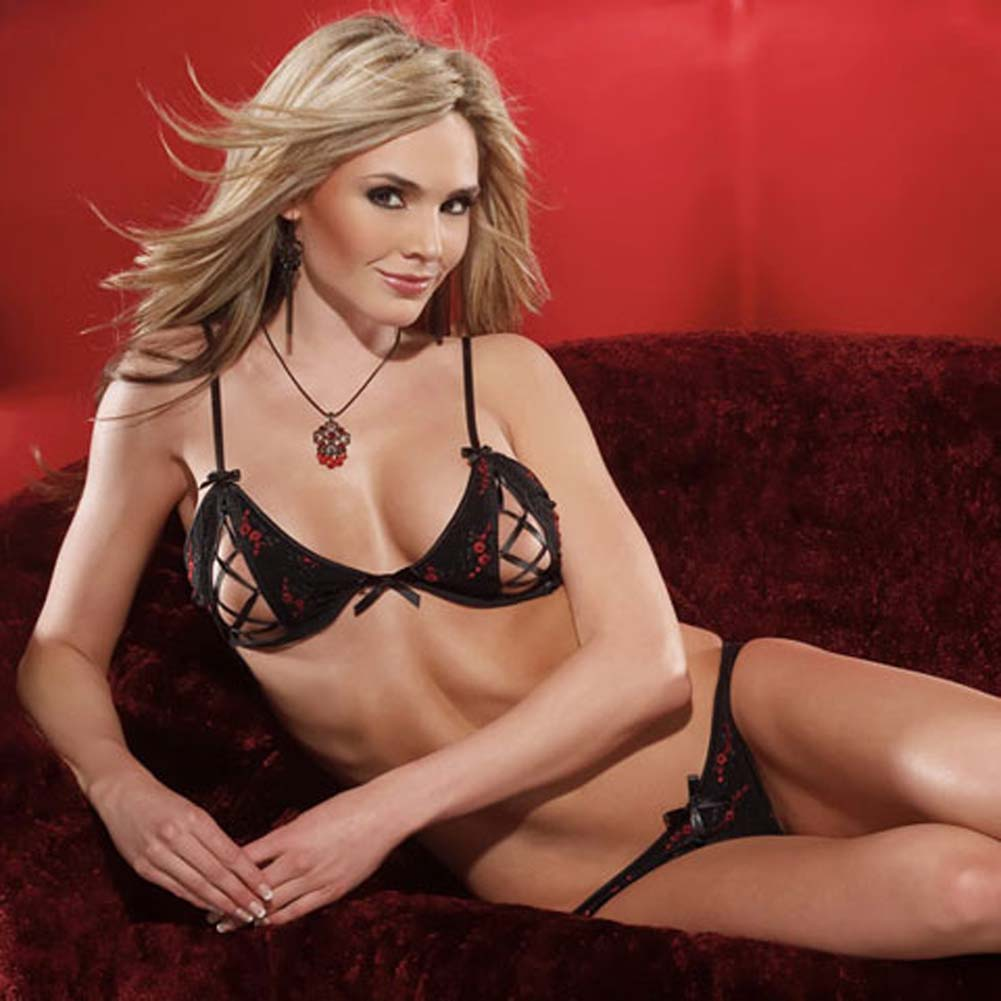 Embroidered Mesh Peek A Boo Bra and Panty Set Large Black/Red - View #3
