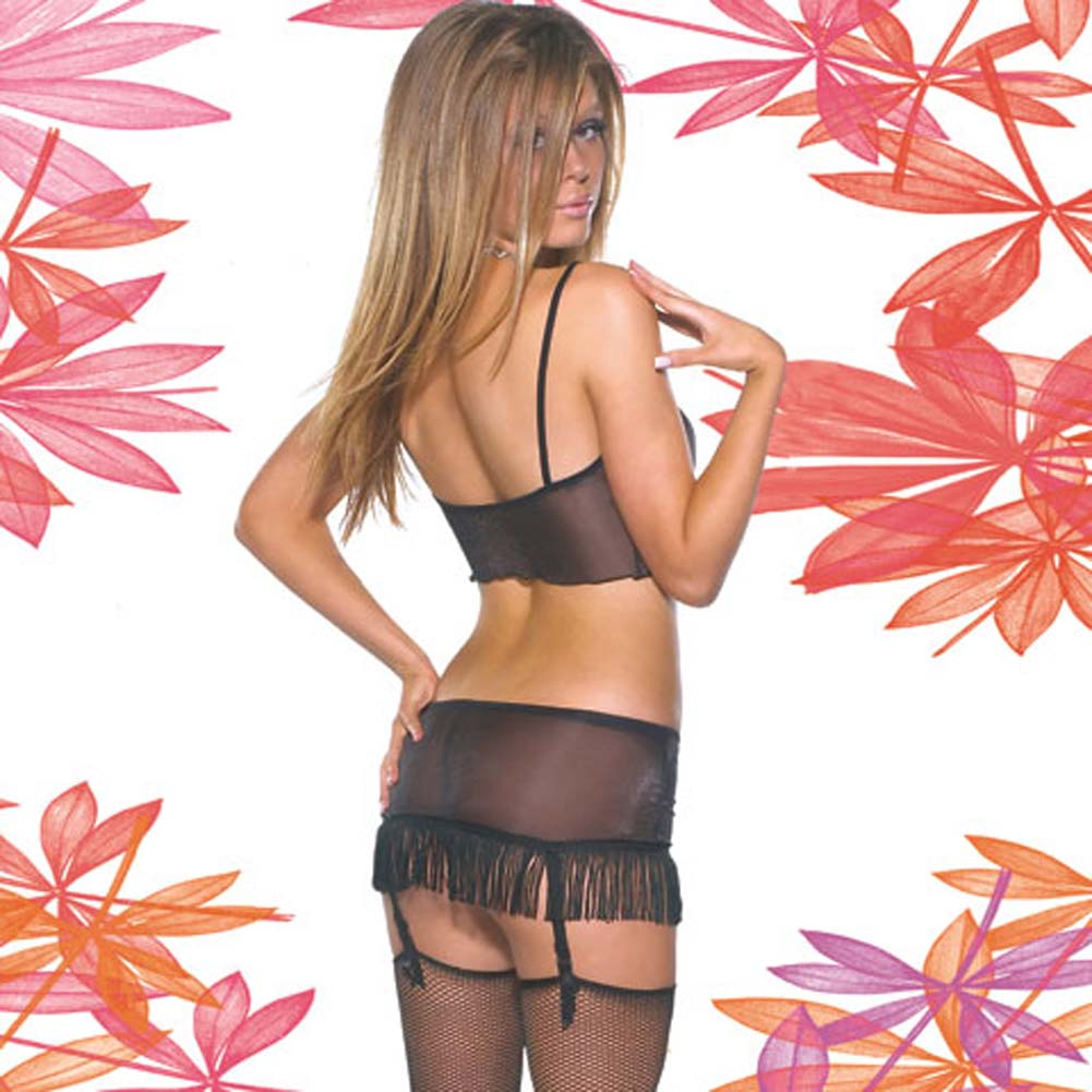Sheer Lycra Cami and Gartered Skirt Set Small - View #1