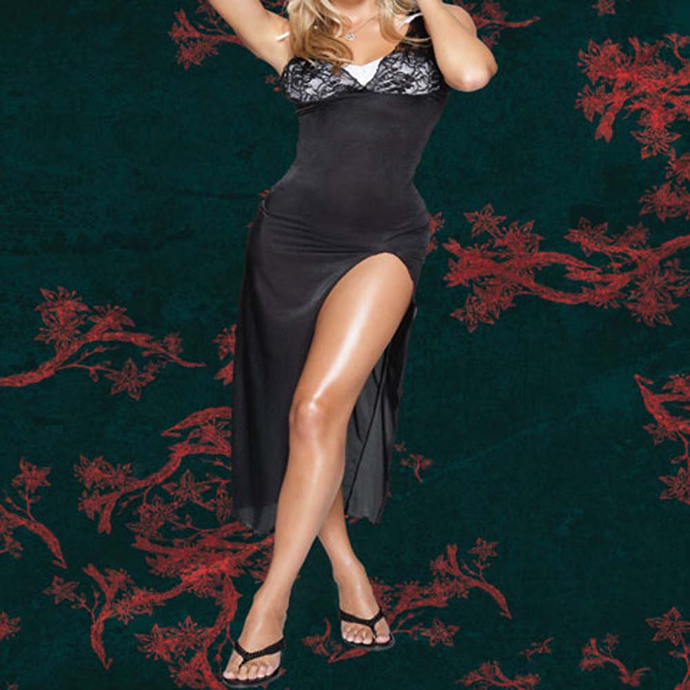 Sheer Stretch Lycra Gown with G-String Plus Size 1X/2X - View #1