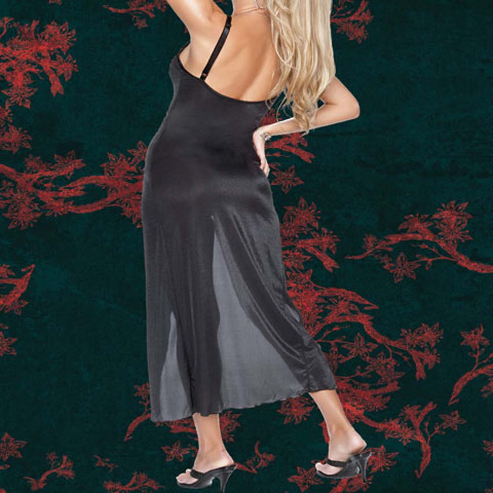 Sheer Stretch Lycra Gown with G-String Plus Size 1X/2X - View #3