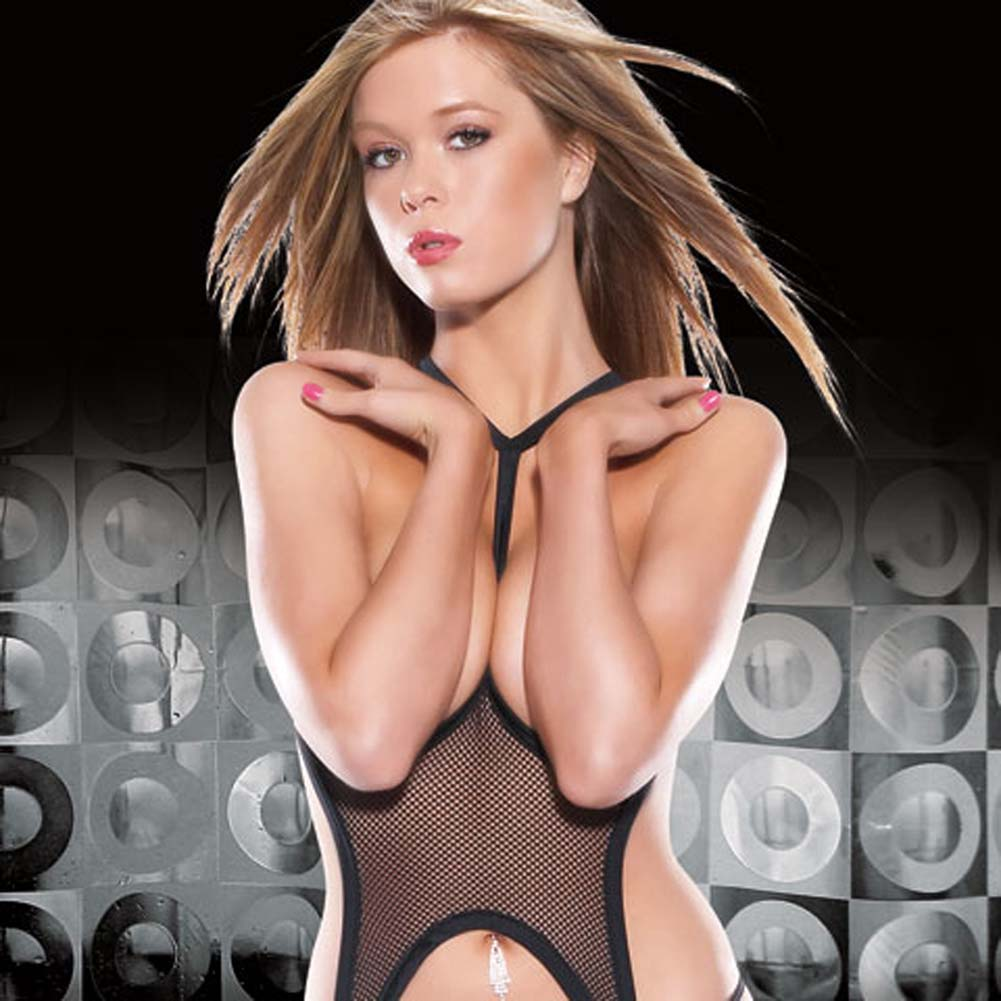 Open Cup Fishnet Bustier with Garters and G-String - View #3