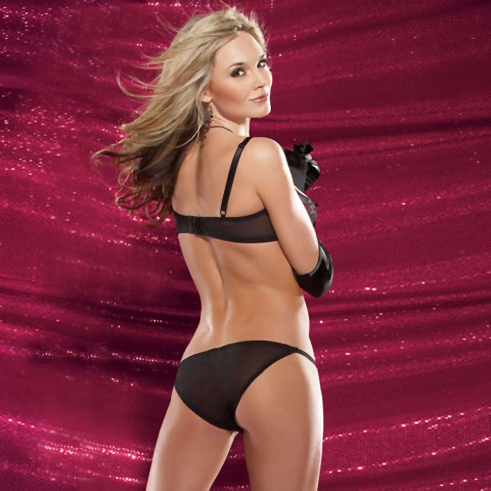 Sequined Peek A Boo Bra and Panty Set Small Black - View #2