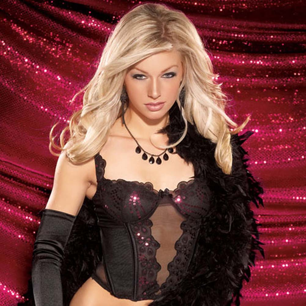 Sequin Lace Mesh Bustier with G-String Medium - View #3