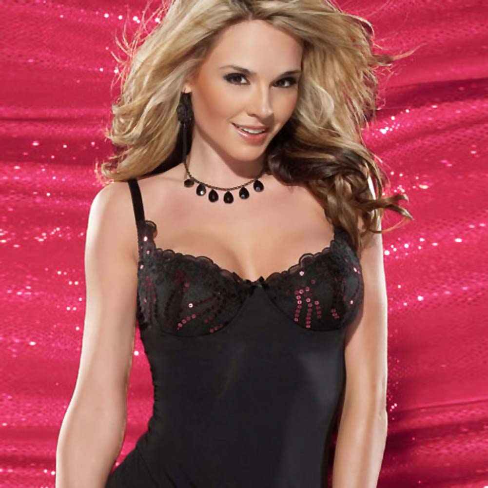 Microfiber Chemise and G-String Set Small - View #3