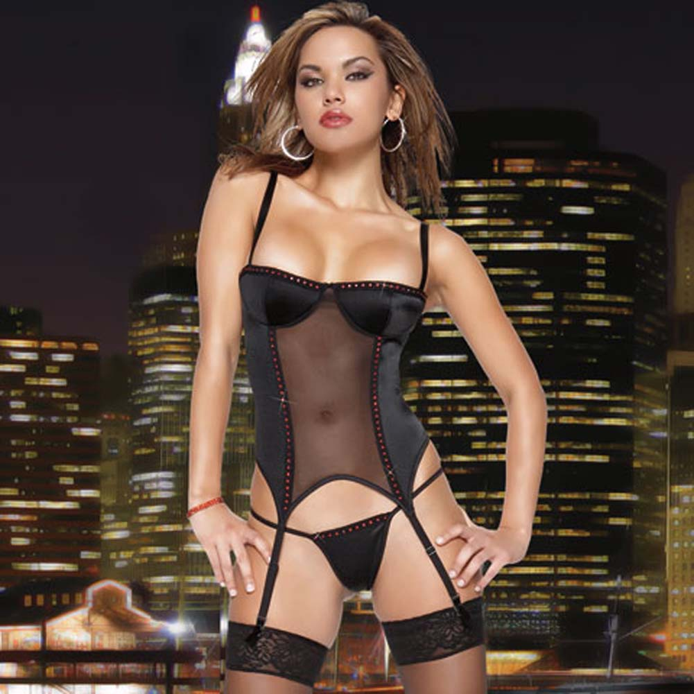 Lycra Mesh Rhinestone Bustier Black Medium - View #2