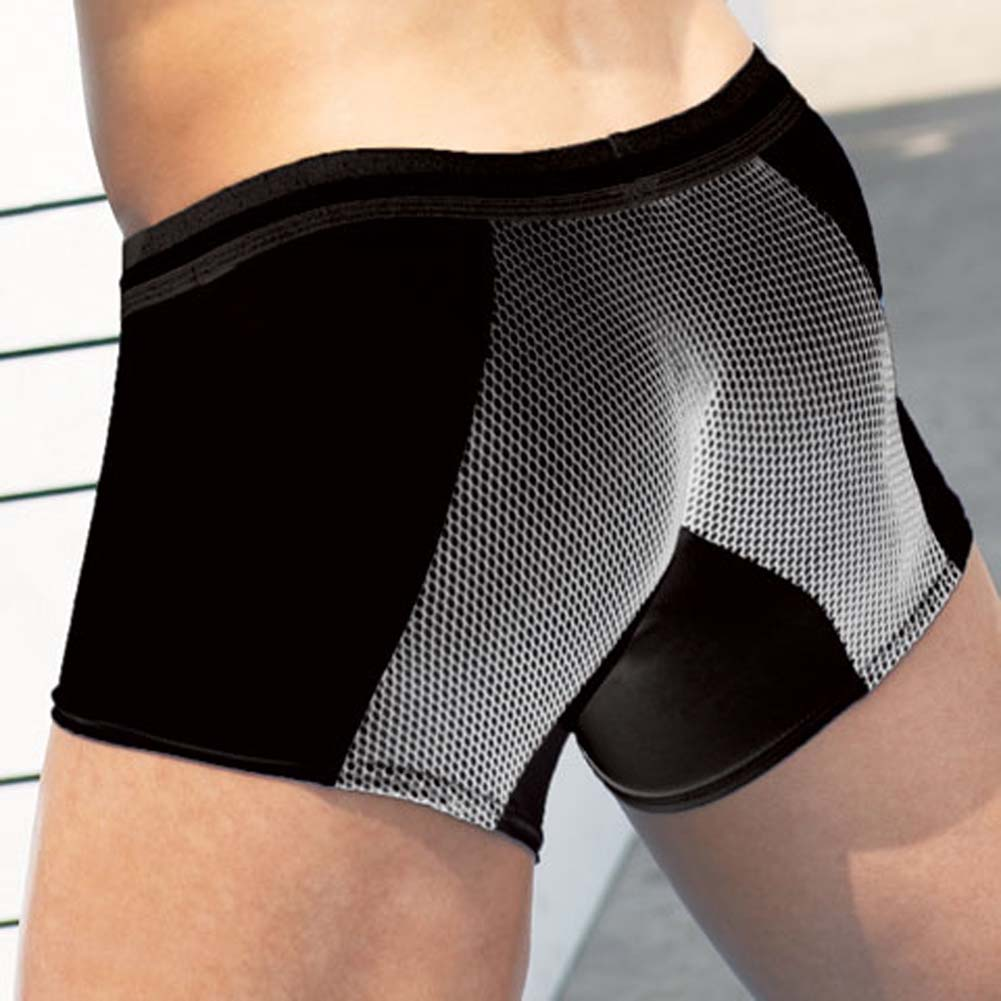 Microfiber Fishnet Boxer Brief with ZAKK Logo Black Large - View #2