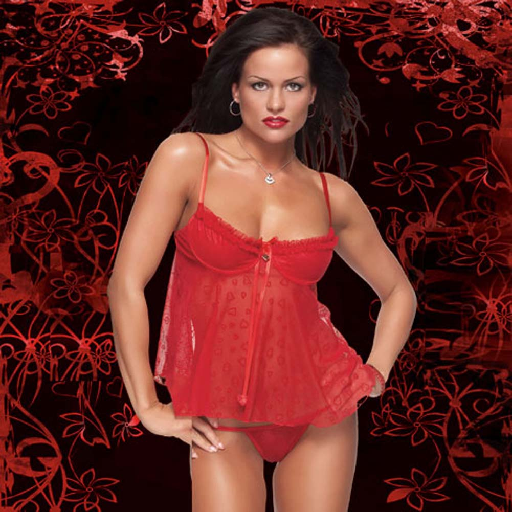 Heart Flocked Mesh Demi Cups Babydoll and G-String Set - View #1