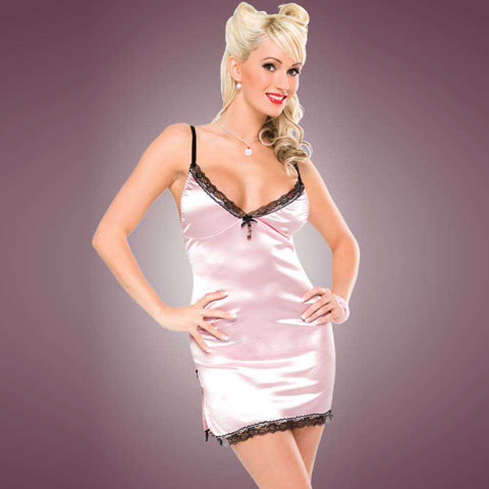 Penthouse Classy Side Slit Chemise Pink Large - View #1