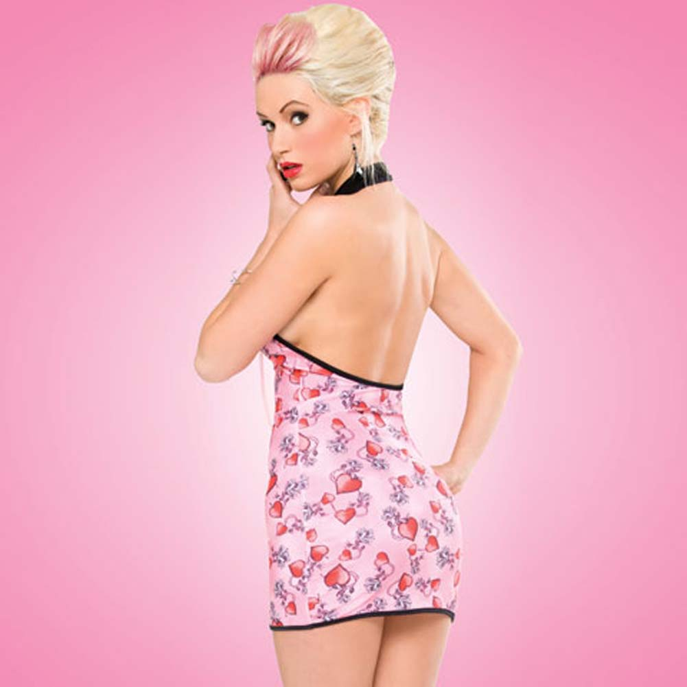 Penthouse Risky Heart Halter Dress Tattoo Heart Print Small - View #2