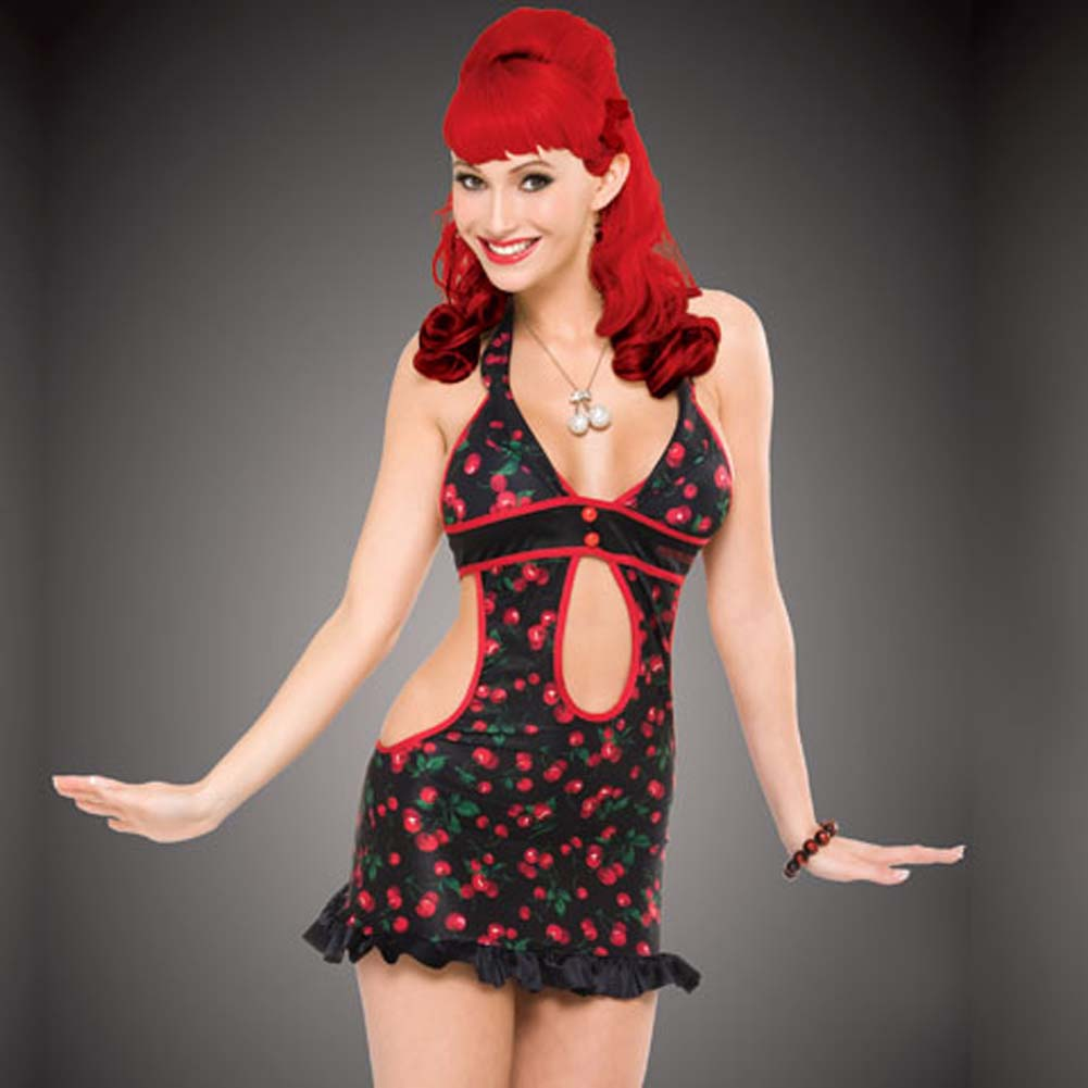 Penthouse Cherry Treat Halter Dress Cherry Print/Black Med - View #1