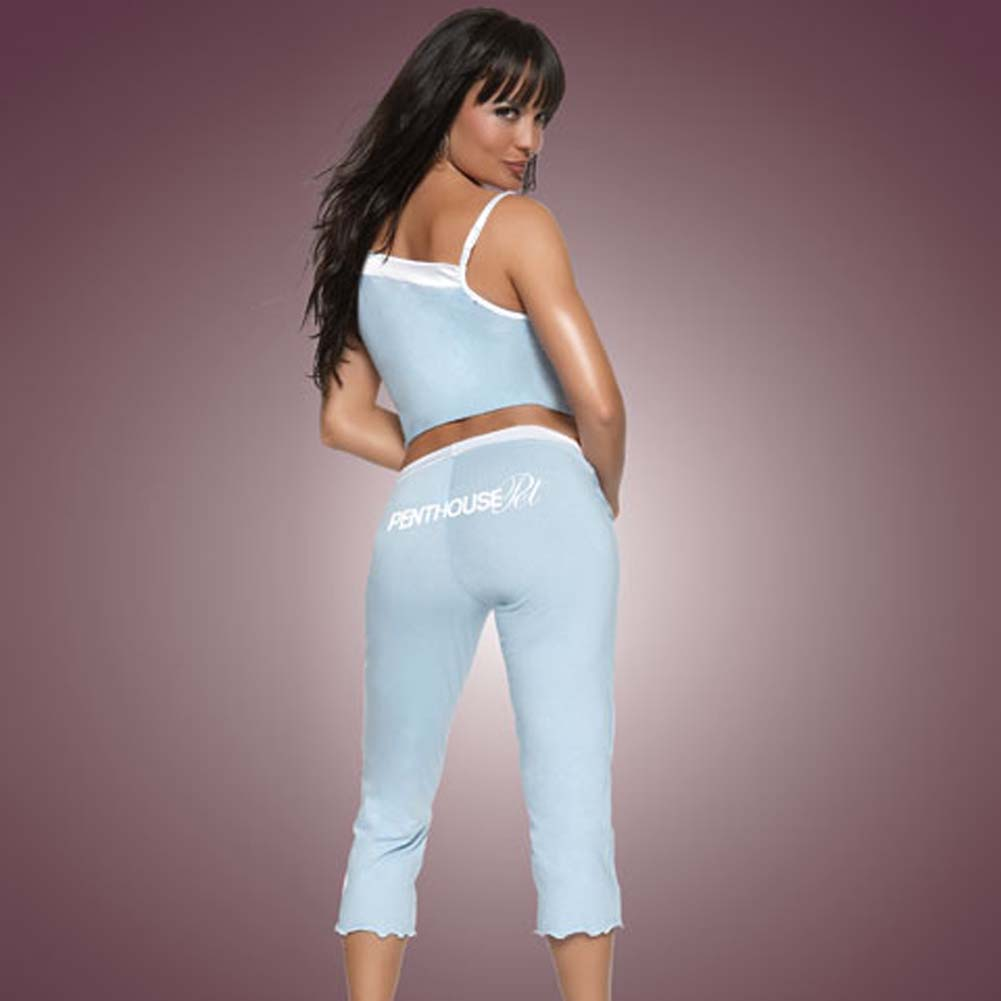 Penthouse Pet Cami and Capri Pants Blue with White Trim Sm - View #2