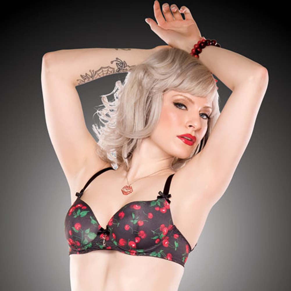 Penthouse Cherry Leaf Moulded Bra Cherry Print/Black Large - View #1