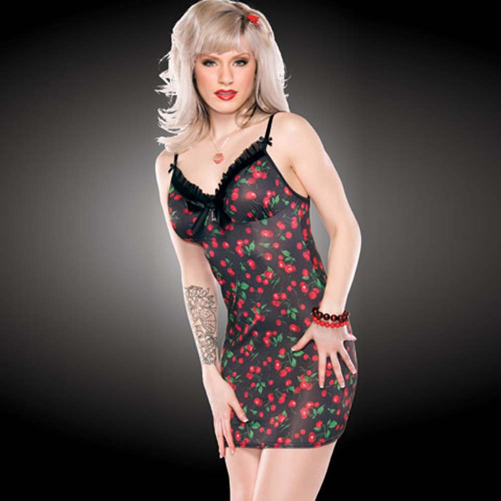 Penthouse Bow and Berry Print Chemise Large - View #1