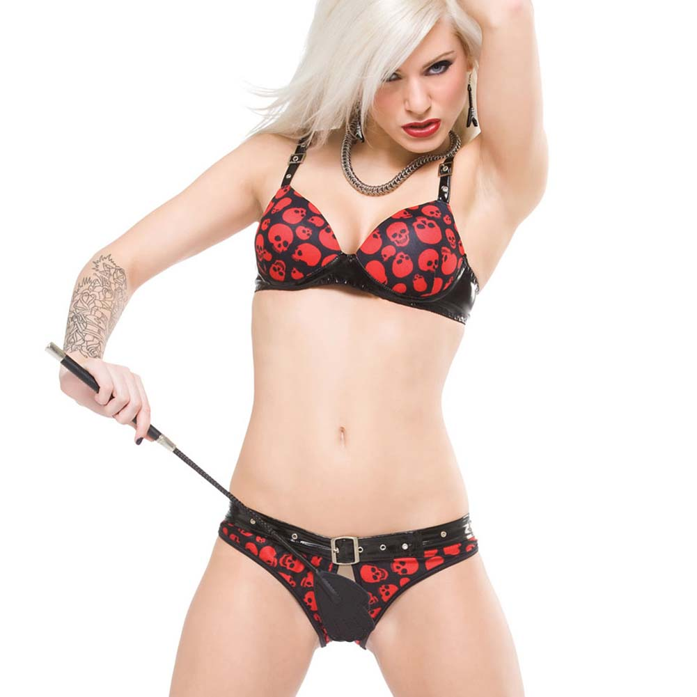 Glossy Belted and Skull Printed Crotchless Panty XLarge - View #2