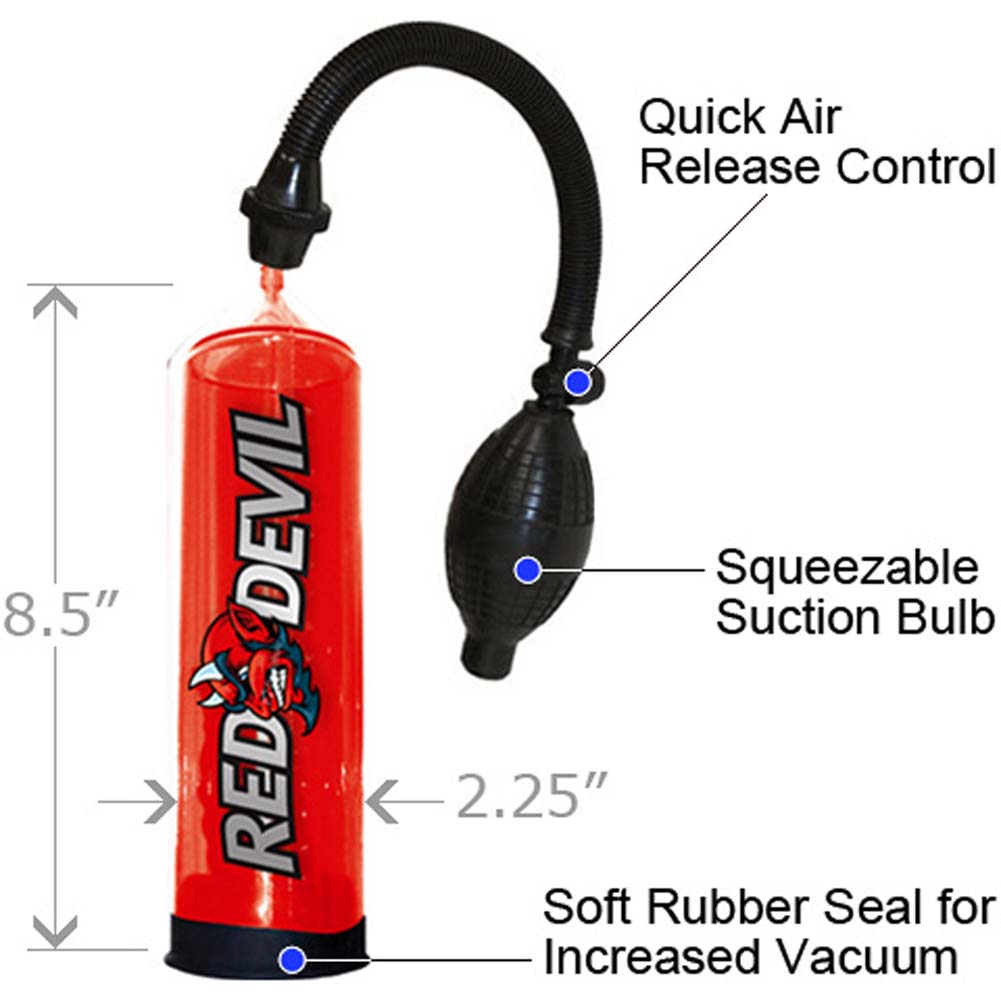 "Red Devil Manual Erection Enhancement Jack Pump 8.5"" Hot Red - View #1"
