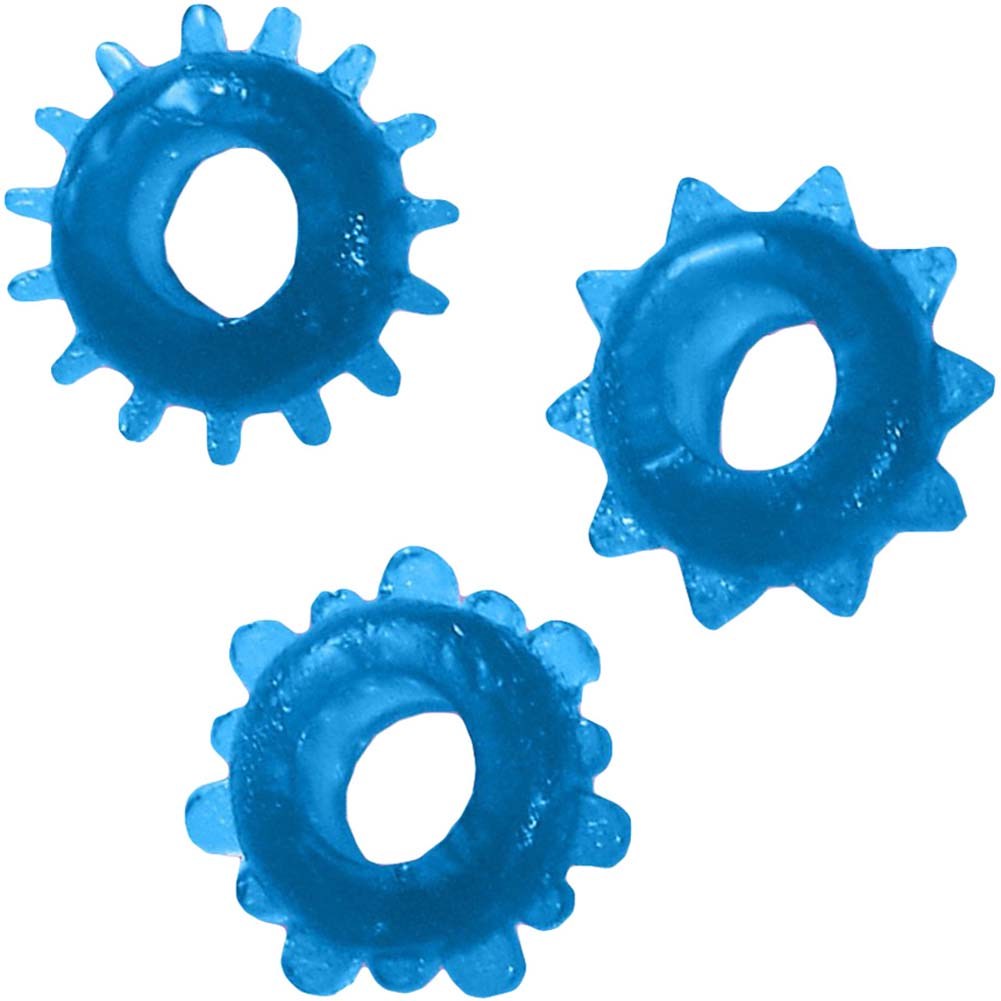 Man Strength Sensual Pleasure Erection Jelly Rings 3 Pack Blue - View #2