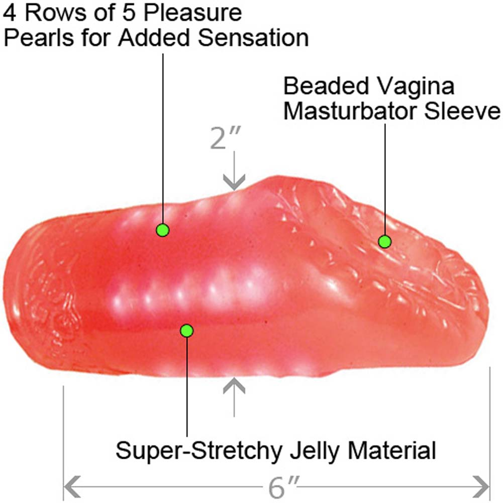 Super Stretch Vagina Masturbator with Pleasure Pearls Pink - View #1
