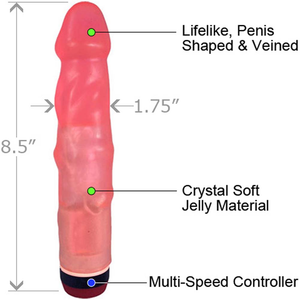 "Heavy Veined Jelly Vibrating Dong 8.5"" Pink - View #1"