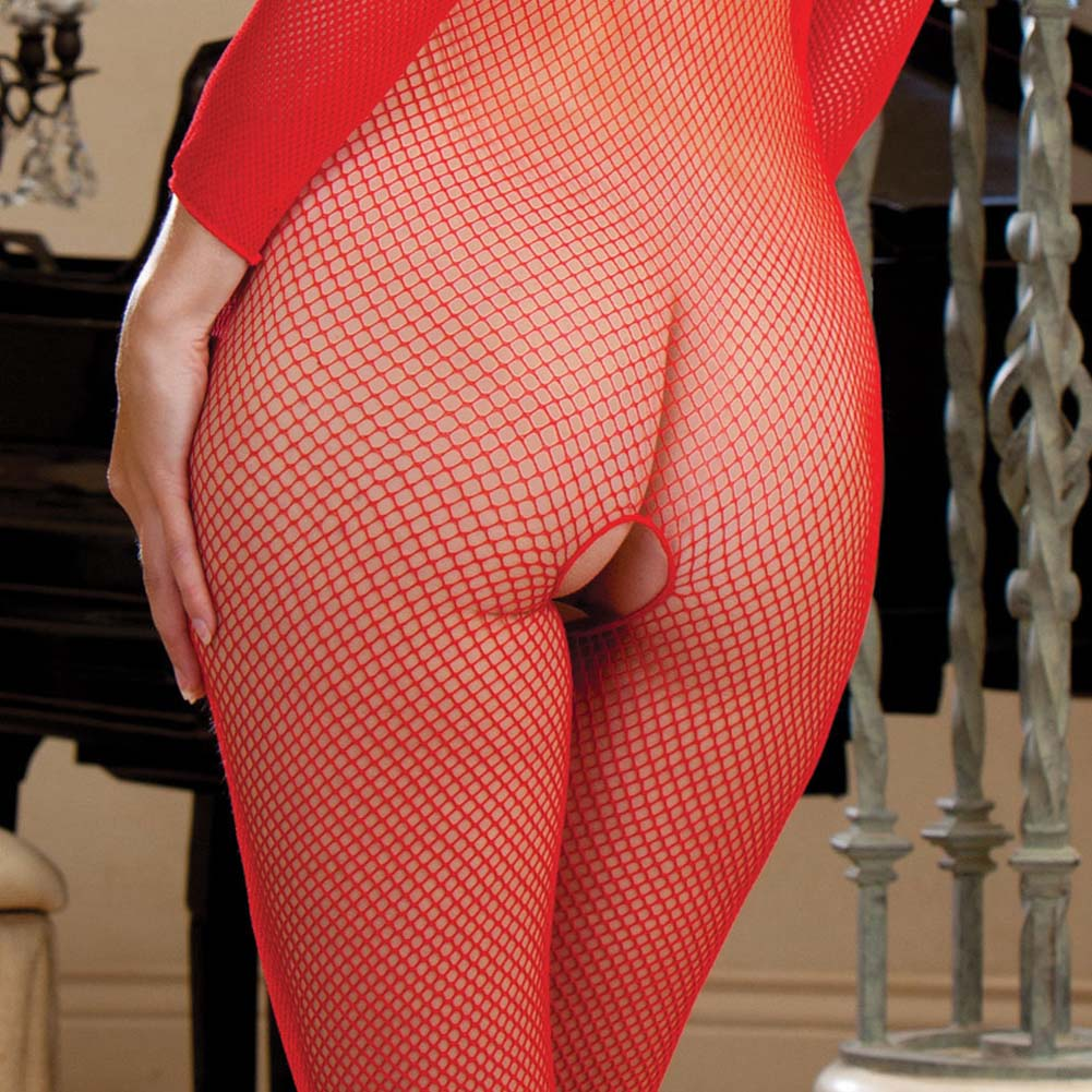 Amsterdam Fishnet Open Crotch Bodystocking Red - View #3