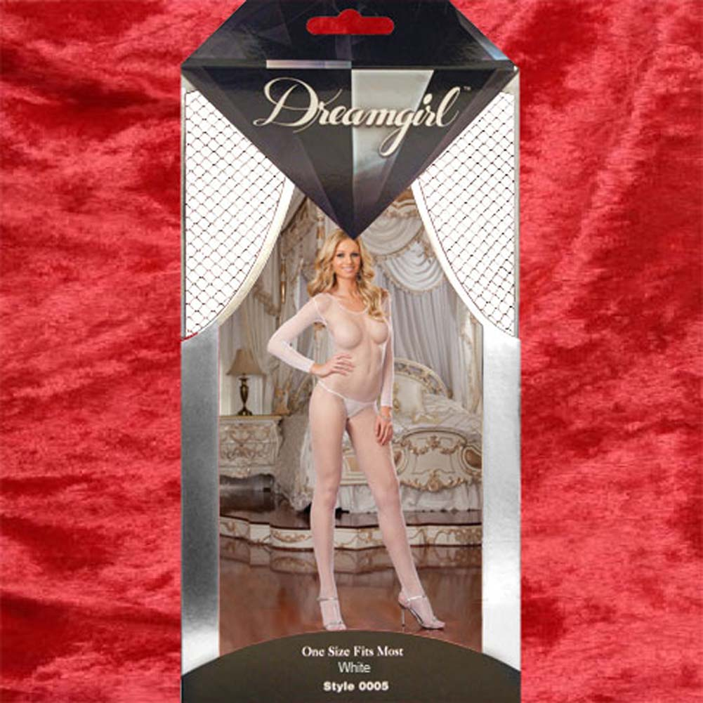 Amsterdam Fishnet Open Crotch Bodystocking White - View #4
