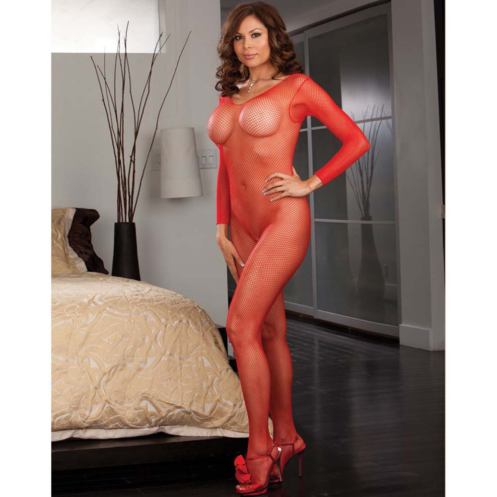 Amsterdam Fishnet Open Crotch Bodystocking Red Plus Size - View #1