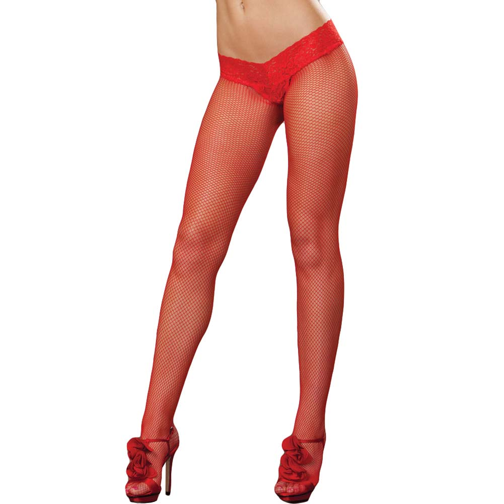 Shanghai Fishnet Pantyhose with Thong Set One Size Red - View #1