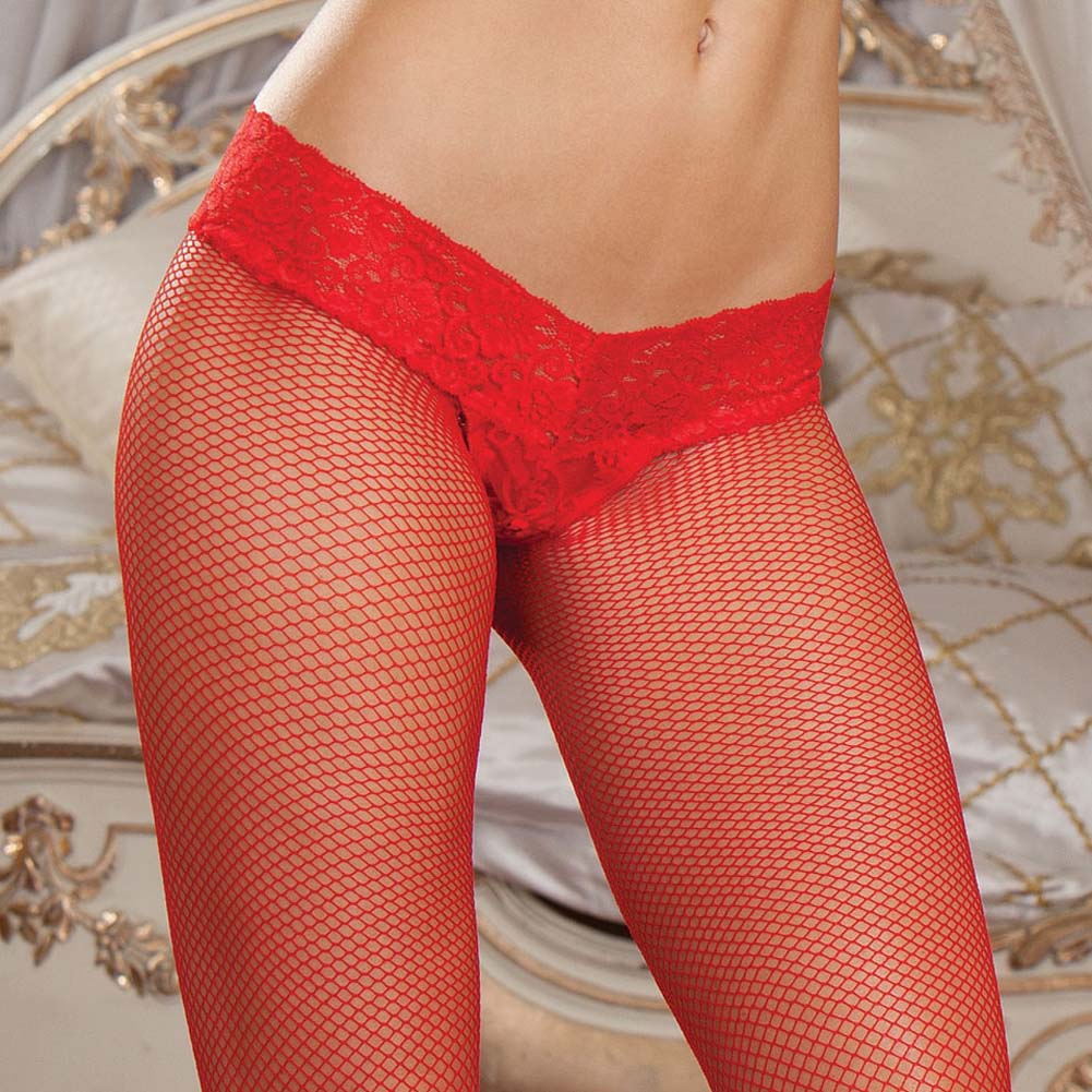 Shanghai Fishnet Pantyhose with Thong Set One Size Red - View #3