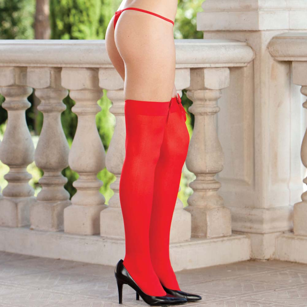 Red Satin Bow Topped Thigh Highs Red - View #2