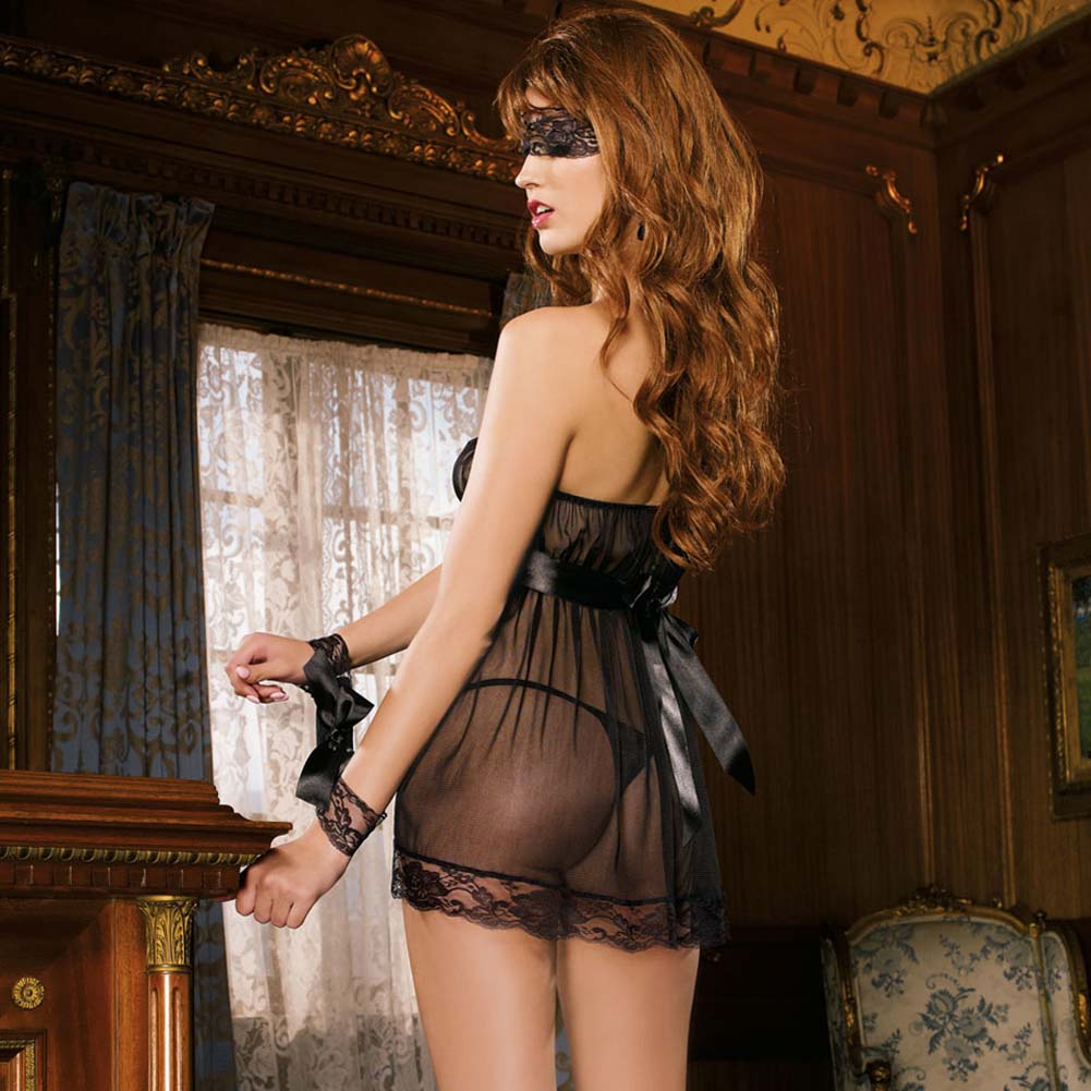 Pleasure Princess Babydoll and Thong with Cuffs and Mask - View #2