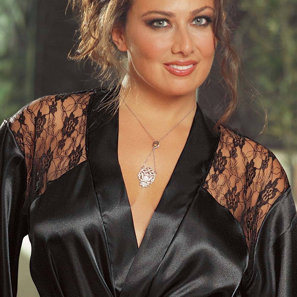 Charmeuse Robe with Plunging Back Lace Inset Black 1x/2x - View #3