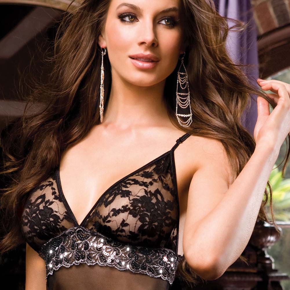 Dreamgirl Madame Noir Babydoll and Panty Set One Size Black - View #3