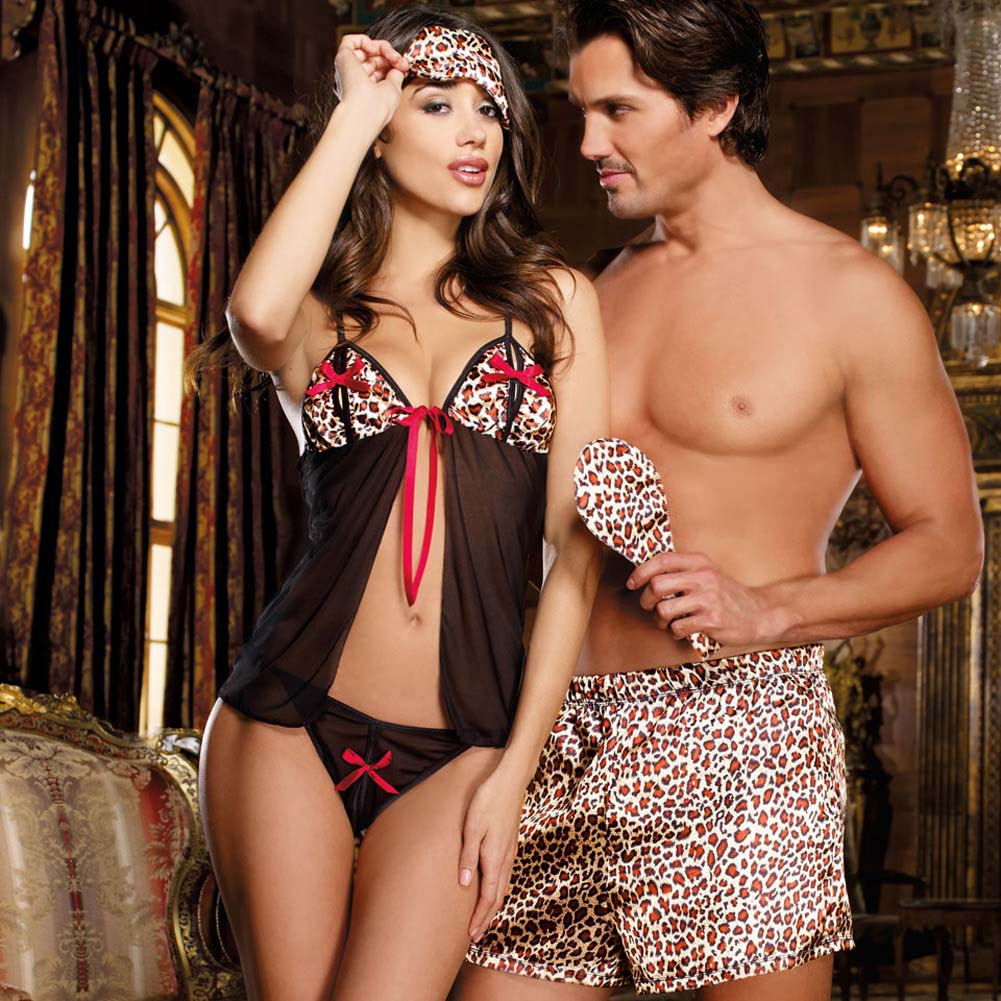 Jungle Cat Babydoll Set with Secret Slits and Leopard Print One Size - View #2