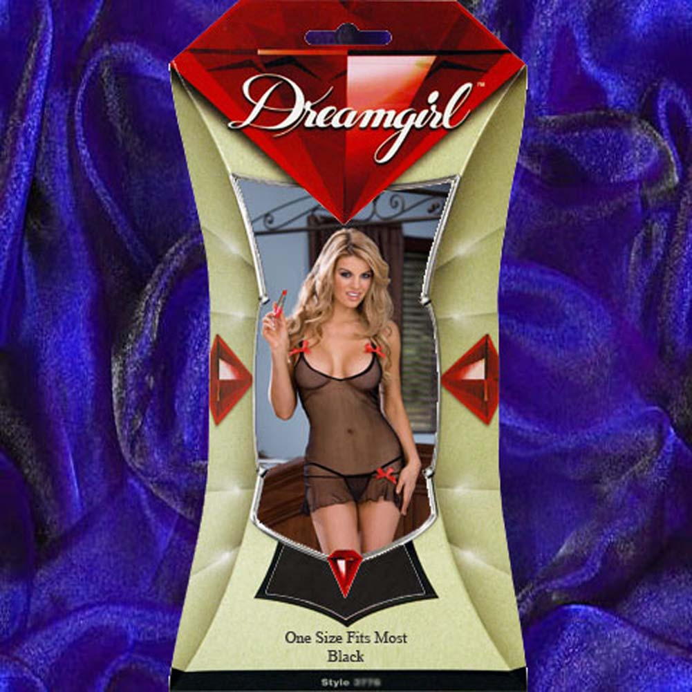 Kiss On the Lips Chemise Set with Panty and Toy Black - View #4