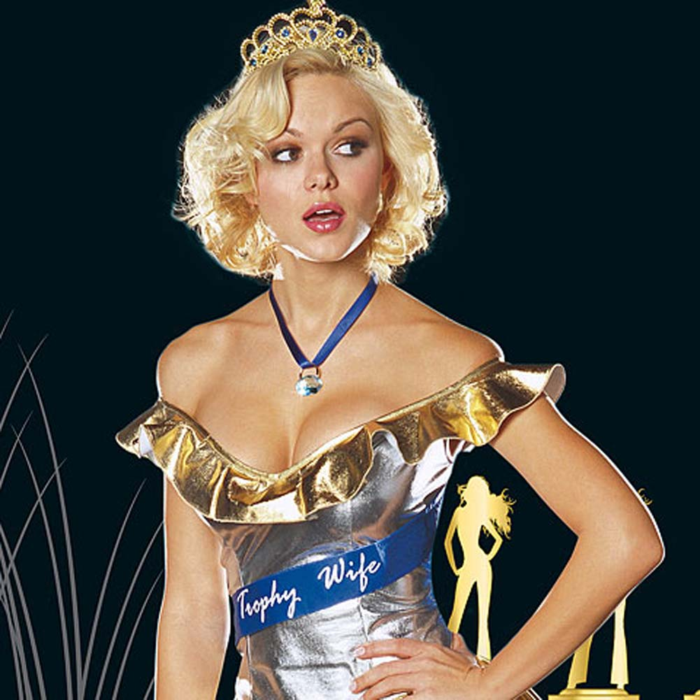 Trophy Wife Sexy Halloween Costume Set For the Bedroom Medium Gold - View #2
