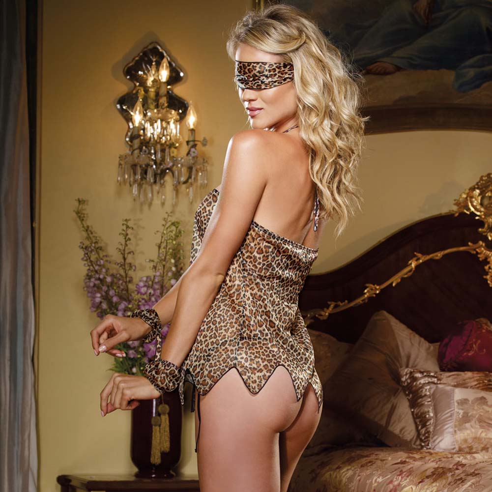 Jungle Jane Babydoll Set with Cuff Sash Ties Leopard Print - View #2
