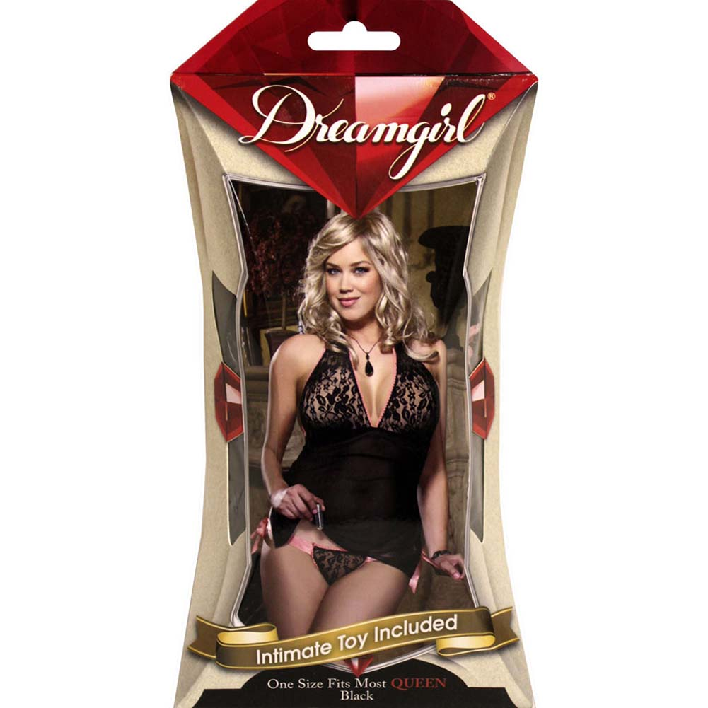 Pleasure Panty Babydoll Set PlusSize Black with Intimate Toy - View #4