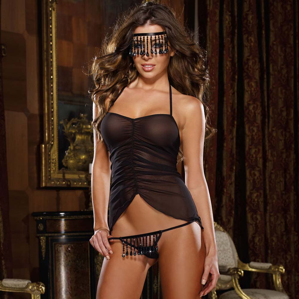 Naughty Fringe Chemise Set with Panty and Mask One Size Black - View #1