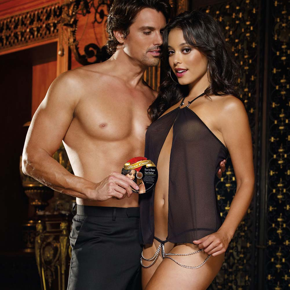 Turn Me On Flyaway Babydoll with G-String and DVD Black - View #1