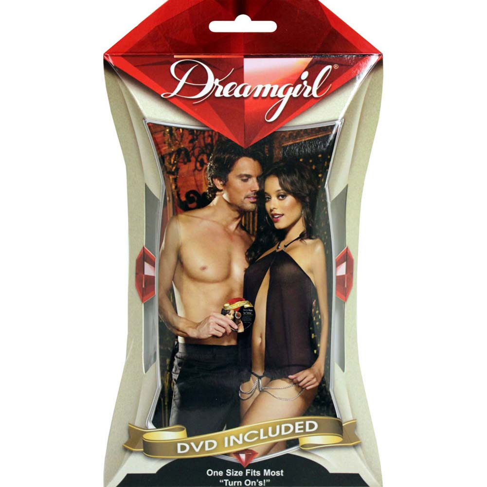 Turn Me On Flyaway Babydoll with G-String and DVD Black - View #3