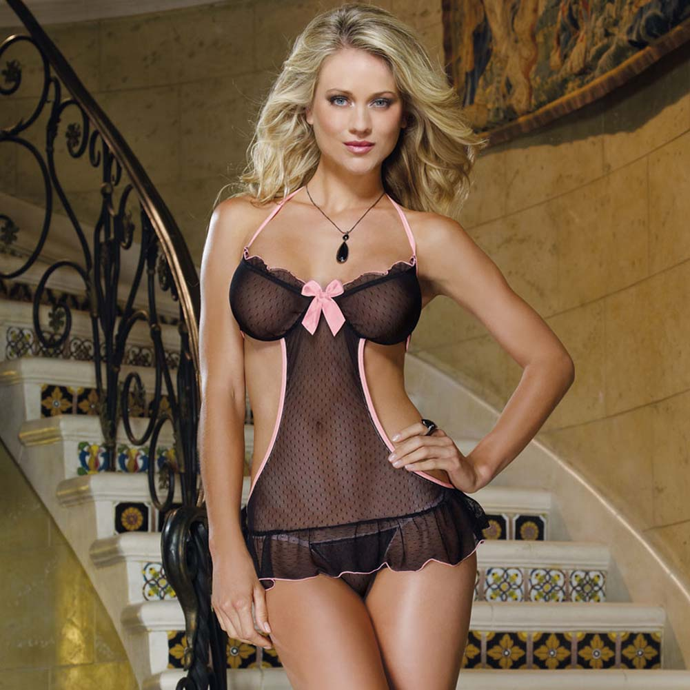 So Inviting Apron Babydoll and Thong Black with Pink - View #1